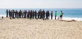 Guardias de vida de California del Laguna Beach en el entrenamiento Imagen de archivo