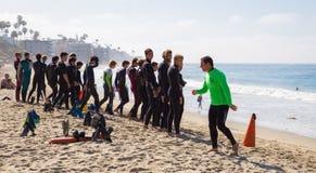 Guardias de vida de California del Laguna Beach en el entrenamiento Foto de archivo libre de regalías