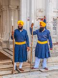 Guardias del sikh en el templo de oro Foto de archivo