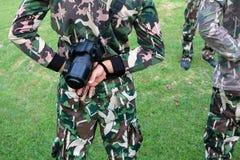 Guardie forestali di parco con le macchine fotografiche fotografia stock