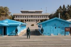 Guarding the North-South Korea borders. PANMUNJOM, SOUTH KOREA - MARCH 2: South Korean soldiers routinely guarding the North-South Korea borders on March 2, 2013 Royalty Free Stock Photos
