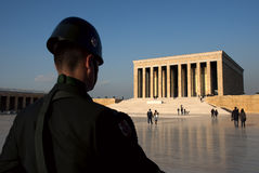 Guarding Anıtkabir (Mausoleum of Ataturk). Ankara, Turkey - November 02, 2011: Soldier guarding Mausoleum of Ataturk, who is the founder and first president of Stock Photos