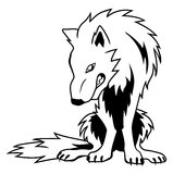 Guarding Wolf. Black and white vector guarding wolf Royalty Free Stock Images