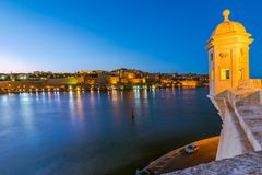 Guardiola Gardens tower and view over Valletta,Malta.  Royalty Free Stock Photo