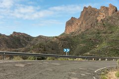 Guardrail on Gran Canaria road. With curve and no traffic Stock Photography