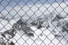 Guardrail. On landscape of snow mountain Royalty Free Stock Photo