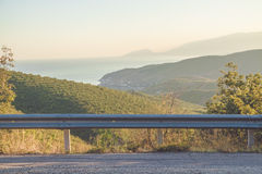 Guardrail. With mountain and sea background in summertime. Crimea, Ukraine Stock Photo