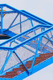 Guardrail stair. The  blue  metal   Guardrail stair  on  white  background Stock Image