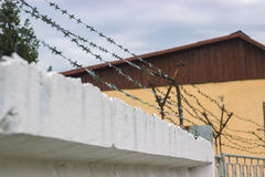 Guardrail and wire netting as security system. Guardrail and wire netting as a security system Stock Photography