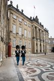 Guards at Amalienborg. The Royal home in Copenhagen. Denmark stock photo
