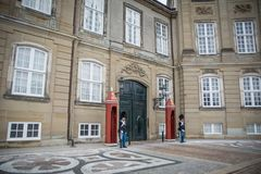 Guards at Amalienborg. The Royal home in Copenhagen. Denmark stock photography