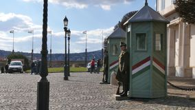 Guards in the Buda Castle in Budapest stock footage