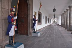 Guards at Carondelet Palace in Quito Stock Photography