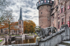 The guards of the castle. Kasteel de Haar in autumn, province of Utrecht, Netherlands Royalty Free Stock Photography