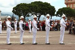 Guards ceremonial near Prince`s Palace, Monaco City Royalty Free Stock Photos