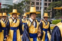 Guards of emperor palace at Seoul. South Korea 2010 royalty free stock photo