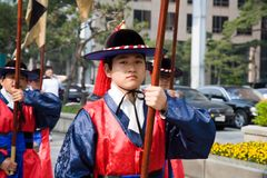 Guards of emperor palace at Seoul. South Korea 2017 stock photos