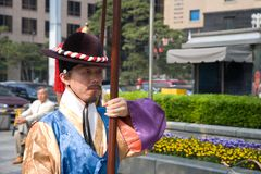 Guards of emperor palace at Seoul. South Korea 2017 stock photography
