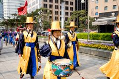 Guards of emperor palace at Seoul. South Korea 2017 royalty free stock image