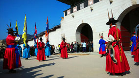 Guards of emperor palace at Seoul. South Korea Royalty Free Stock Images