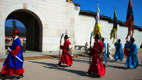 Guards of emperor palace at Seoul. South Korea Royalty Free Stock Image