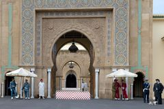 Guards in front of Royal Palace Rabat, Morocco stock photos
