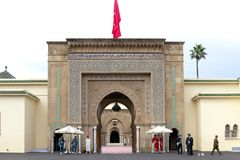 Royal Palace Rabat, Guards in front of Royal Palace Rabat, Morocco stock photo