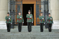 Guards at the Hungarian Parliament Building in Budapest Royalty Free Stock Photos