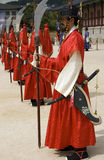 Guards at the King's Palace. These are traditional dressed guards at Gyeongbokgung, Korea's former King's Palace/residence royalty free stock image