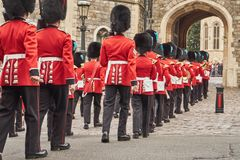 Guards marching in parade at windsor castle Royalty Free Stock Photo