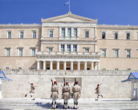 Guards near parlament in Athens, Greece Royalty Free Stock Image