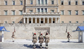 Guards near parlament in Athens, Greece Stock Photography