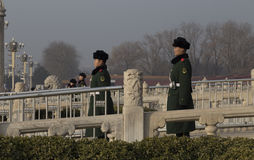 Guards outside the Forbidden City Royalty Free Stock Image