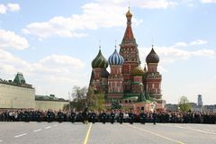 Guards parade on Red square Royalty Free Stock Photos
