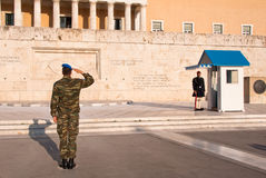 Guards perform the. Changing of the Guard in front of the Greek Parliament Royalty Free Stock Photos