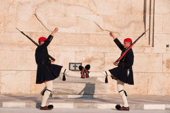 Guards perform the Changing of the Guard. In front of the Greek Parliament Stock Photos