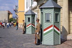 Guards at the President Palace in Budapest Stock Image