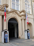 Guards at the Royal Palace Hradcany in Prague. PRAGUE, CZECH REPUBLIC - JUNE 30: Guards at the Royal Palace Hradcany in Prague, June 30, 2010 in Prague, Czech stock photo
