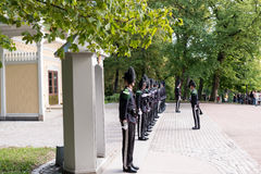 Guards at Royal Palace Oslo Norway Royalty Free Stock Photography