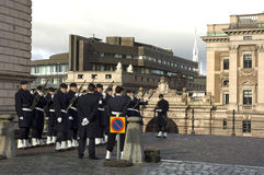 The guards of the Royal Palace in Stockholm. Sweden.  Royalty Free Stock Photo