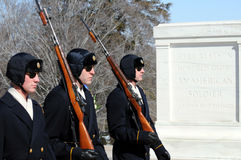 Guards at Tomb of Unknown Soldier. Changing of the guards at the Tomb of the Unknown Soldier at Arlington National Cemetery near Washington DC, shot in the Royalty Free Stock Photos