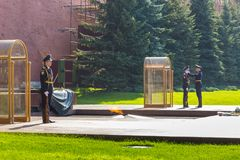 Guards at The Tomb of the Unknown Soldier, Moscow, Russia. royalty free stock images