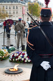 Guards on the unknown soldier tomb. Soldiers watching the tomb du soldat inconnu, under the Arc de  Triomphe in Paris Royalty Free Stock Photography
