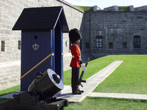 Guardsman and Sentry Box. A member of the Canadian Royal 22nd Regiment stands guard at the gates to the Citadel in Old Quebec City, Quebec, Canada stock image