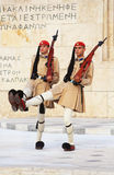 Guardsmen near parliament in Athens stock photography