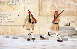Guardsmen near parliament, Athens, Greece Royalty Free Stock Photo