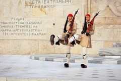 Guardsmen near parliament in Athens, Greece stock photo
