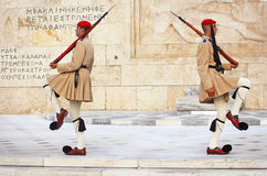 Guardsmen near parliament in Greece Stock Photos