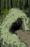 Guarida del oso en bosque ilustración del vector