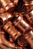 Guarniciones de cobre de los fontaneros Fotos de archivo libres de regalías